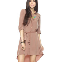 Lustrous Shirtdress w/ Belt