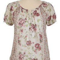 Short Sleeve Mixed Floral Lace Trim Top - maurices.com