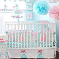 My Baby Sam 4 Piece Pixie Baby Crib Bedding Set, Aqua