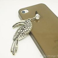 1PC Retro Alloy Plated Silver Toucan Tropic Bird Earphone Charm Cap Anti Dust Plug for iPhone 5, iPhone 4, Samsung S3