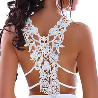 Lace Crochet V-neck Slim Vest