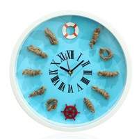 YCC Creative 3D Mediterranean Wall Clock Color Blue