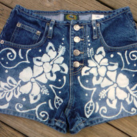 women's Paris Blues Hawaiian shorts Size 3 bleached decoration