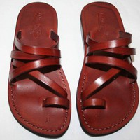 Brown Buckleless Leather Sandals | SANDALI - Clothing on ArtFire
