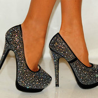 LADIES RHINESTONE PARTY PROM CRYSTAL SPARKLY WEDDING SHOES HIGH HEELS SIZES 3-8
