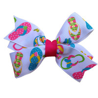 Adorable flip flop hair bow - summer hair bow, 3 inch bow