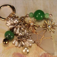Pottery n Things - Gold Wire Wrapped Sea Glass Assemblage Keychain