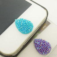 1PC Resin Cute Cartoon Paved Flower Drop iPhone Home Button Sticker for iPhone 5, 4, 4s, 4g, Cell Phone Charm, Kids Gift