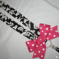 Preppy Damask Polka Dot LANYARD with BOW by rileyjanecustoms