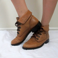 Vintage Brown Lace Up Roper Boots Chocolate Ankle High Leather Womens Size 7 1/2 Half Camel Booties Shoes