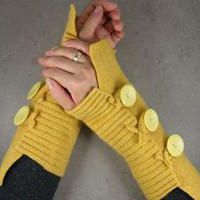 fingerless mittens arm warmers in banana yellow by piabarile