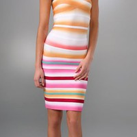 Herve Leger Airbrush Stripe Strapless Cocktail Dress - &amp;#36;210.00