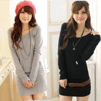 New Women's fashion personalized Solid color V-neck long-sleeved T-shirt & dress