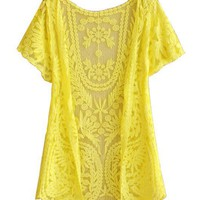 Lace Crochet Short Sleeves Coats with Scoop Neckline in Yellow