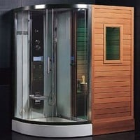 DS202 Steam Sauna Bath Combo With Steam Generator Hydrotherapy Back Massage Jets Handheld Shower Telephone Hookup Exhaust Fan Storage Shelves & Ozone