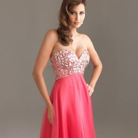 A-line Sweetheart Long Coral Beading Prom Dress