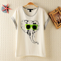 Cool Elephant Batwing Loose T-shirt9