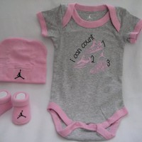 "Nike Jordan Infant New Born Baby Boy/Girl Shoulder Bodysuit, Booties and Cap 0-6 Months with ""Jordan"" & ""i can count"" Sign One Set 3 Piece Set"