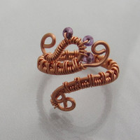 Midi, PInky, Upper Knuckle or Toe Wire Wrapped Colored Copper Adjustable Ring