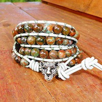 Fire Agate Green Chalcedony Cheetah 4 Wrap Leather Bracelet