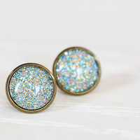 Aqua Holographic Glitter Glass Earrings by aRainyAfternoon on Etsy
