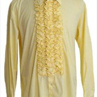 Ruffles After Six Yellow Tux Vintage 1970s Shirt