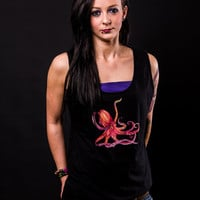 Rockabilly Kraken Octopus Black Tank Top - Tees
