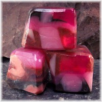 Rose Quartz Gemstone Soap Rocks Pink, Rose, Copper and Brown