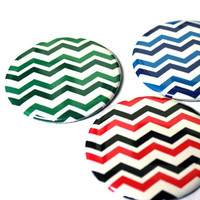 "Ladies Pocket Mirrors - Bridesmaid - Chevron 2.25"" Mirror - Button Mirror"