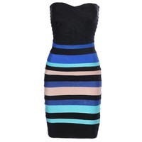 Bqueen Blue and Black Bandage Party Dress H007E - Bqueen women shoes,Bqueen designer shoes on sale