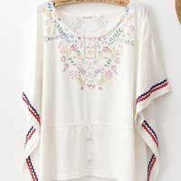 Fashion White Bohemian Loose Dolman Sleeve T-shirt