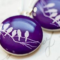 Birds on the Branch violet earrings Free Worldwide by beautyspot