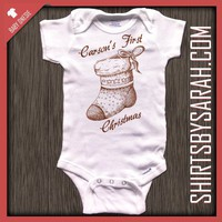 Personalized Baby's First Christmas Stocking Onesuit : Custom Printed Baby Onesuits - Shirts By Sarah - Custom Printed T-shirts