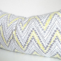 Gray Lumbar Pillow, Grey and Yellow, Chevon, Zig Zag Throw pillow cover, Bohemian Pillows, Yellow Room Decor, Gray Home Decorative Pillows