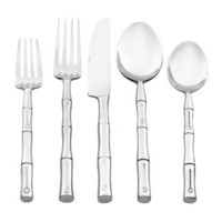 Hampton Forge Silversmith Bamboo Mirror 45-Piece Flatware Set