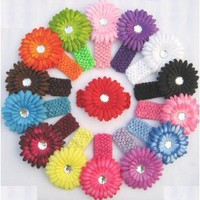 13 Large Gerber Daisy Flower Hair Clip Bows (26 Pack, 13 Flowers + 13 Headbands) with Soft Stretch Crochet Child Head Bands - Will Fit Infants, Baby, Toddlers, Girls, Youth, Newborns