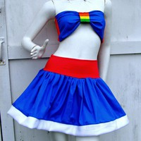 Rainbow Brite set Skirt and bow top sexy Kawaii Cosplay costume