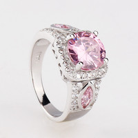 925 Silver Pink Gem Rhinestone Band Ring at Online Jewelry Store Gofavor