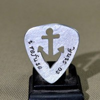 Refuse to sink guitar pick with handmade anchor