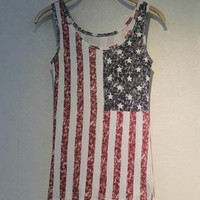 Fade Color Style Vest with USA Stars and the Stripes Flag H3