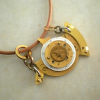 Steampunk Necklace: Golden Submarine - Steampunk Jewelry - Clockwork Jewelry - Unique Jewelry - Upcycled Jewelry - Yellow Submarine