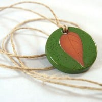 Ceramic Leaf Impression Pendant -- handbuilt speckled spring green