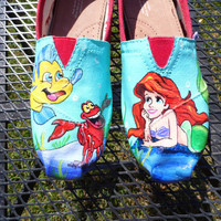 Custom Painted Shoes Little Mermaid Flounder Sebastian Ariel any color TOMS VANS
