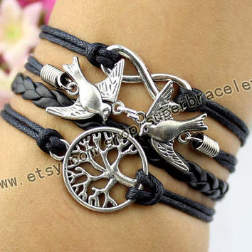 Wishing trees, birds bracelet, infinity bracelet, ancient silver charm, black leather cord, gifts, girlfriend and BFF