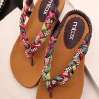 Colorful Braided Flat Sandals KT060506