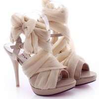 High Heel Chiffon Lace Up Sandals for Women B91