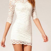 White Lace Slim Dress For Women