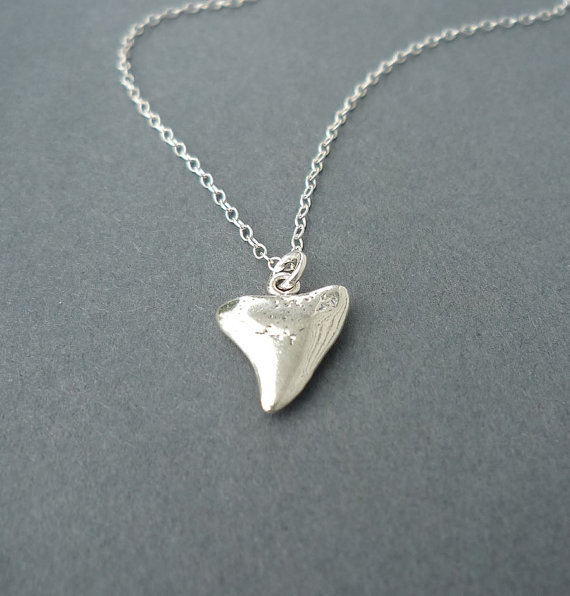 $25.00 sterling shark tooth necklace by cravejewelrydesign on Etsy