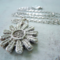 Van Gogh. Silver Lace Flower Necklace. Antiqued Lace Handcrafted Jewelry. Fine Silver Pendant