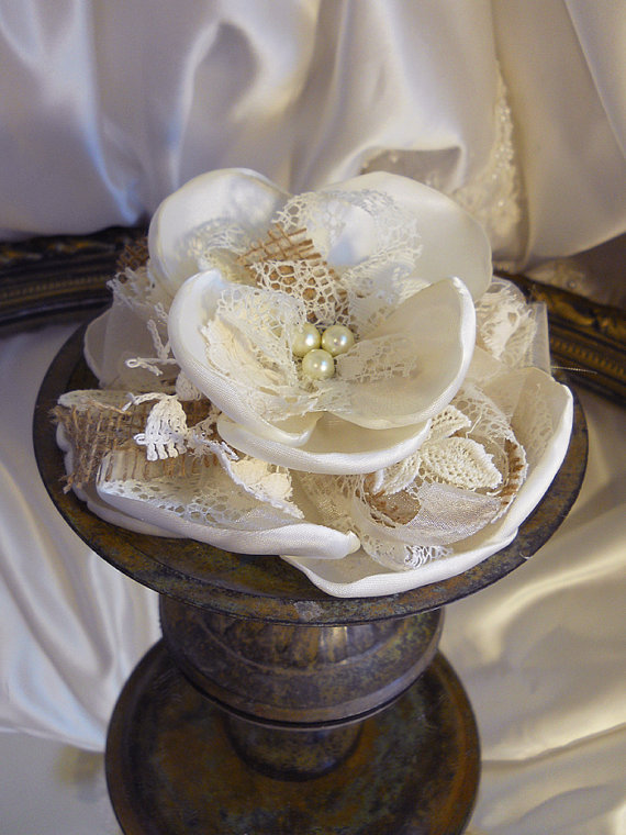 "Burlap & Lace Cake Topper Flower with Bow, handmade of burlap, lace and antique white satin. Fits a 6"" round."